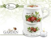 Designer Porcelain Mug with Lid and Heater Decorated with Strawberries
